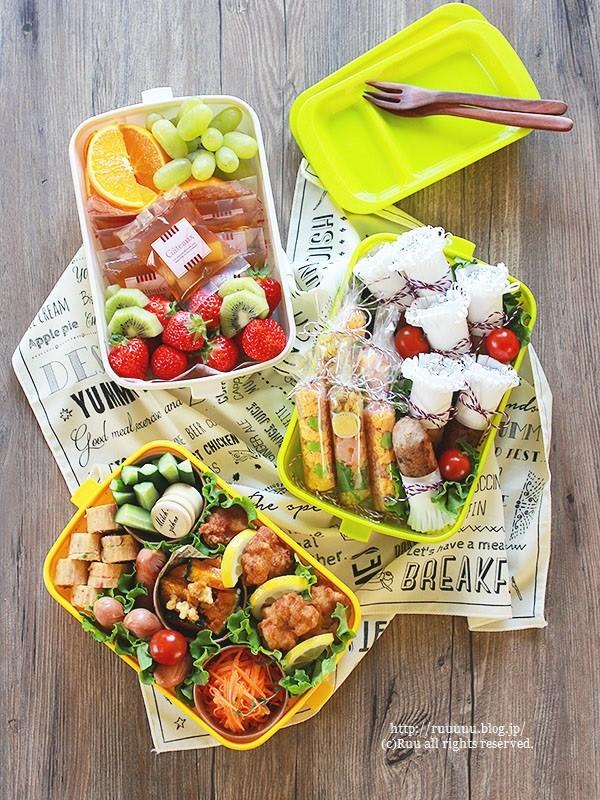【レシピ】スティックおにぎり3種のお弁当。~フライドチキン&ドライカレー&オムライス~
