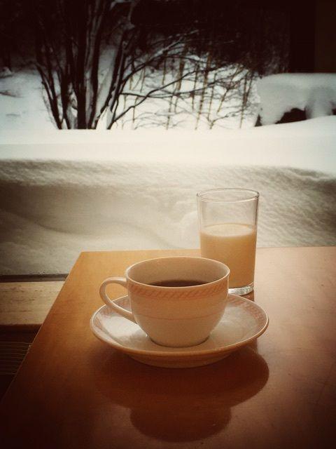 雪国で、楽しむコーヒー、いとうまし。