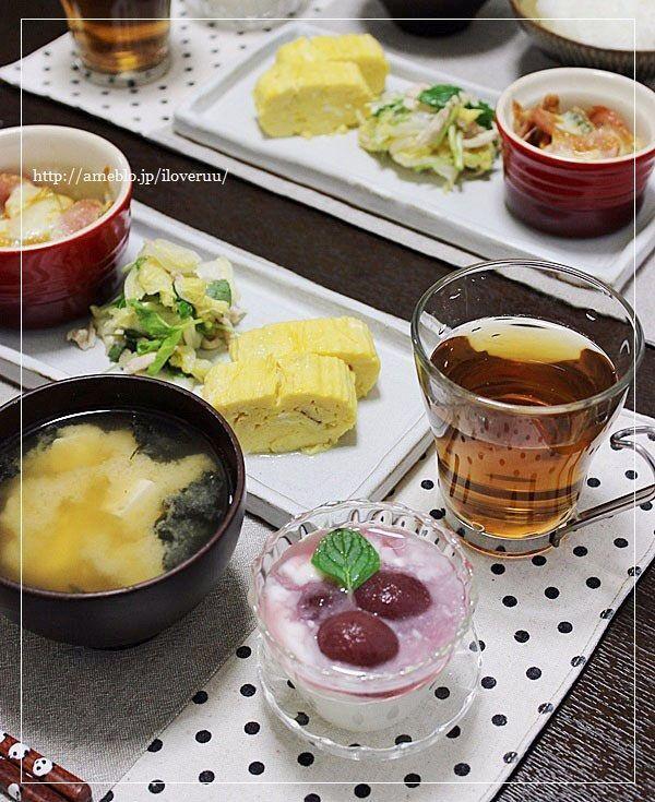 久々の朝ご飯。~ふわっふわの出汁巻き卵にお味噌汁などなど~