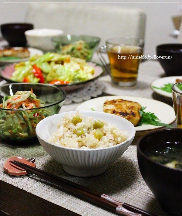 【レシピ】春。~グリーンピースと干し海老の炊き込みご飯~