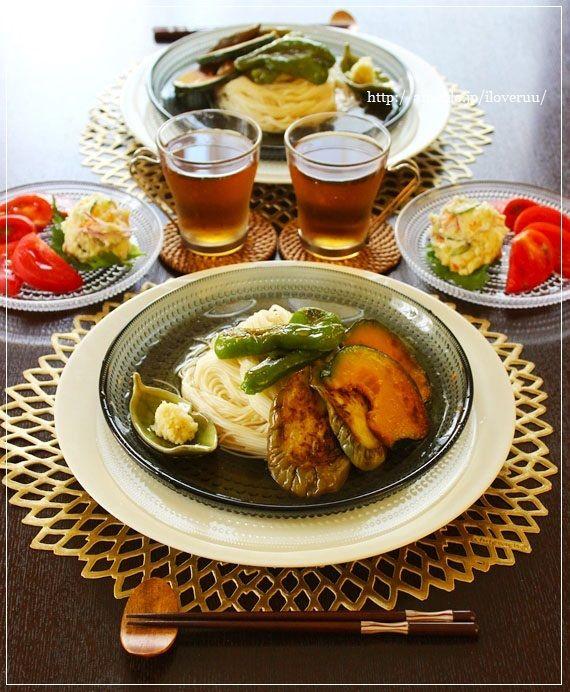 翻訳×さぶろー山。~揚げ出し夏野菜の素麺~