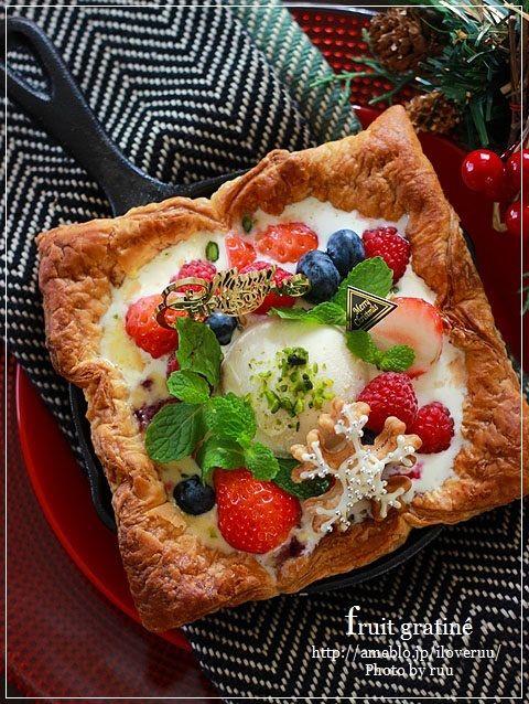 超絶イチオシ!~クリスマスのフルーツグラタン♡たっぷりベリーにパイ仕立て~