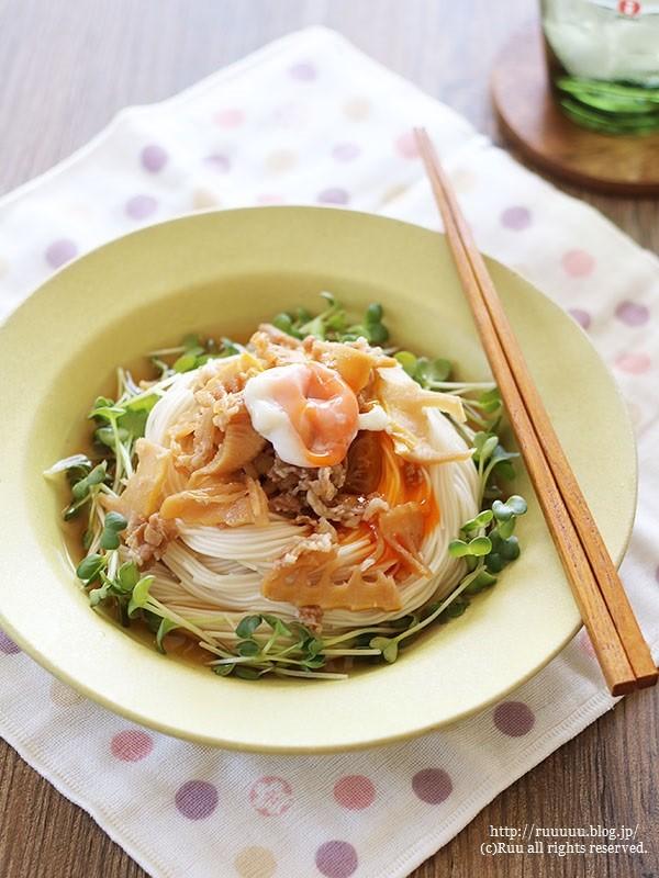 【レシピ】牛肉と筍のしぐれ煮のっけ素麺。~一番娘の修学旅行~