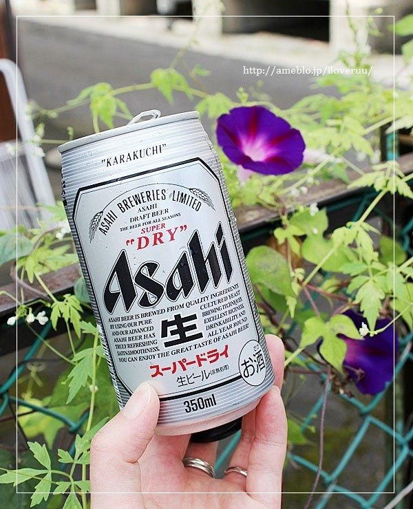 朝顔とビール。