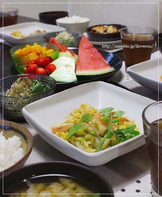 400gの野菜が食べれる献立。~キャベツとシーフードのスイチリ炒め~
