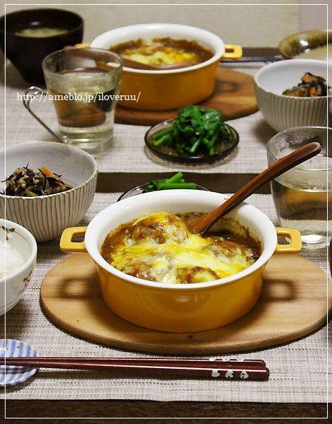 カレー。~おじゃがのカレーチーズ焼きに大麦入りお粥などなど~