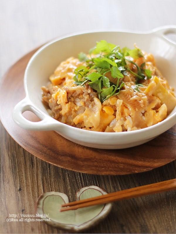 【レシピ】アレンジいろいろ♡レンジで牛肉と筍の卵とじ丼。
