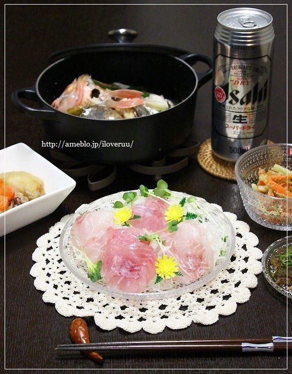 釣ったお魚でさぶろー山の1人晩酌ご飯。~お刺身・酒蒸し・皮唐揚げ~