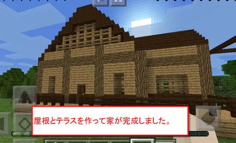 屋根とテラスを作って家が完成しました。