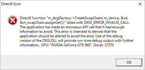 win10 directx error unfocused