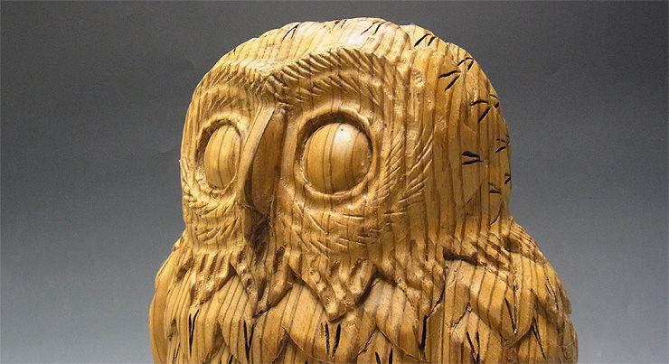 【特別プライス】杉/椙(スギ) 木彫りふくろう 高さ:32cm