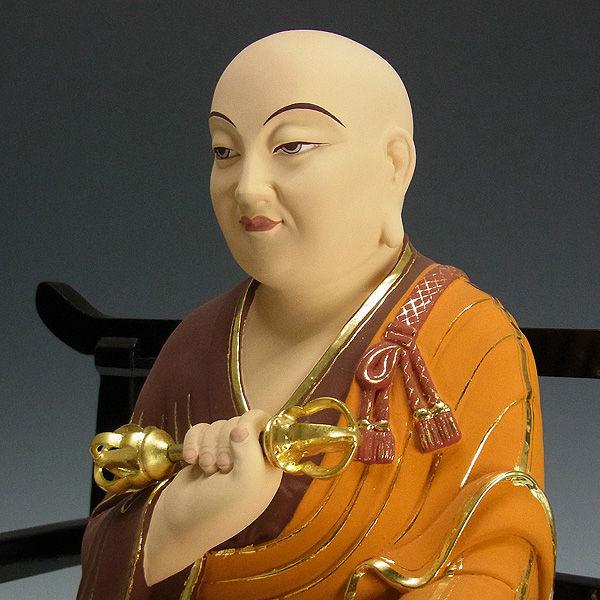 楠/樟(クス) 彩色 弘法大師・空海 高さ:31cm (販売・木彫り)