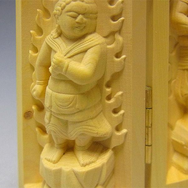 柘植/黄楊(ツゲ) 厨子 不動明王 二童子 矜羯羅(こんがら)・制吐迦(せいたか) 高さ:10cm