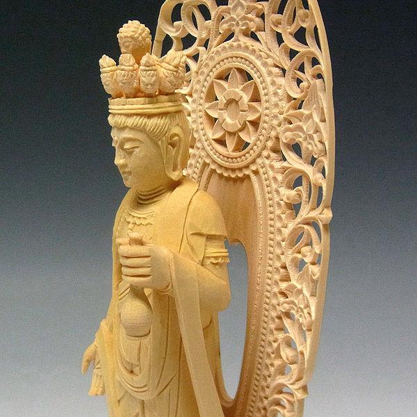 柘植/黄楊(ツゲ) 十一面観音菩薩 高さ22cm (販売・木彫り)