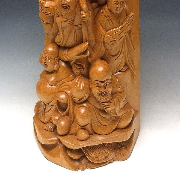 桧/檜(ヒノキ) 七福神(衝立型) 高さ:70cm (販売・木彫り)