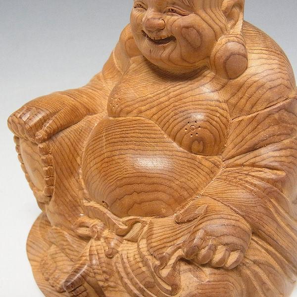 紅豆杉/赤豆杉(ベニマメスギ) 座布袋 高さ:10cm (販売・木彫り)