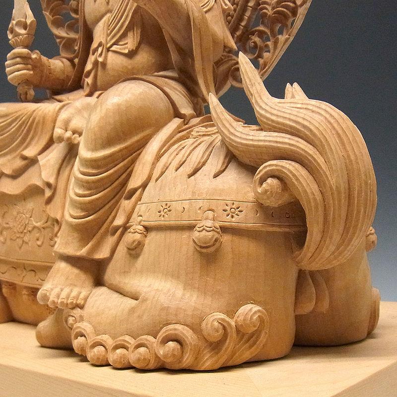 榧(カヤ) 白木 最上彫り 文殊・普賢菩薩 高さ:45cm (販売・木彫り)