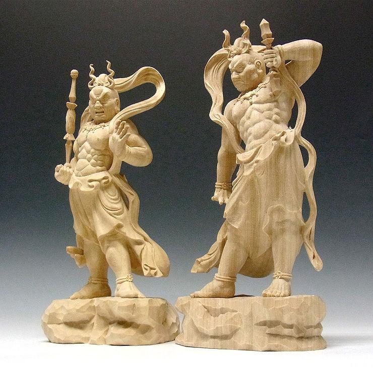 楠/樟(クス) 白木 仁王(金剛力士) 高さ31cm (販売・木彫り)