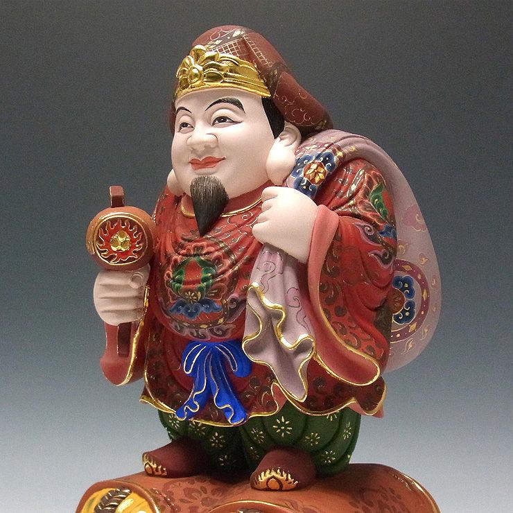 楠/樟(クス) 極彩色 大黒天 高さ33cm (販売・木彫り)