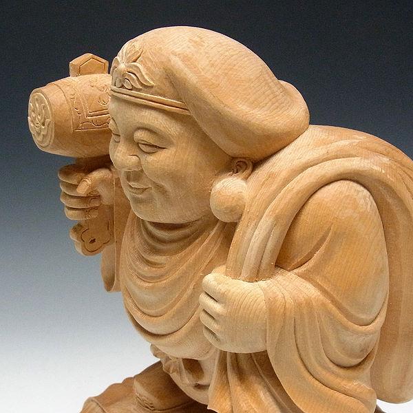 桧/檜(ヒノキ) 大黒天 高さ:33cm (販売・木彫り)
