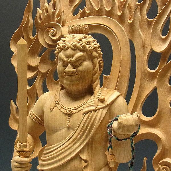 榧(カヤ) 白木 不動明王 高さ:70cm (販売・木彫り)