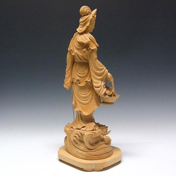 榧(カヤ) 最上彫り魚籃観音 高さ:42cm (販売・木彫り)