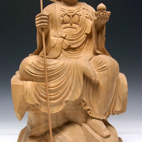 楠/樟(クス) 白木 地蔵菩薩 (坐像) 高さ:47cm (販売・木彫り)