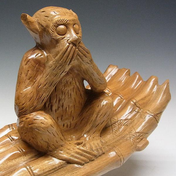 楠/樟(クス) 三猿(さんざる・さんえん) 見ざる聞かざる言わざる 幅69×高さ27cm (販売・木彫り)