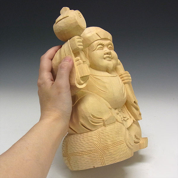 楠/樟(クス) 白木 大黒天 高さ:25cm (販売・木彫り)