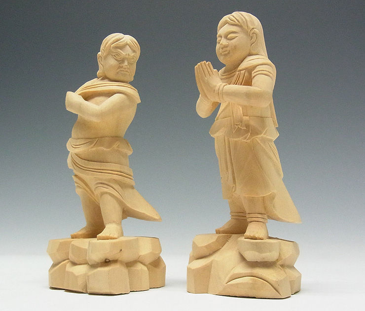 柘植/黄楊(ツゲ) 二童子 矜羯羅(こんがら)・制吐迦(せいたか) 高さ:11cm 手のひらサイズ (販売・木彫り)