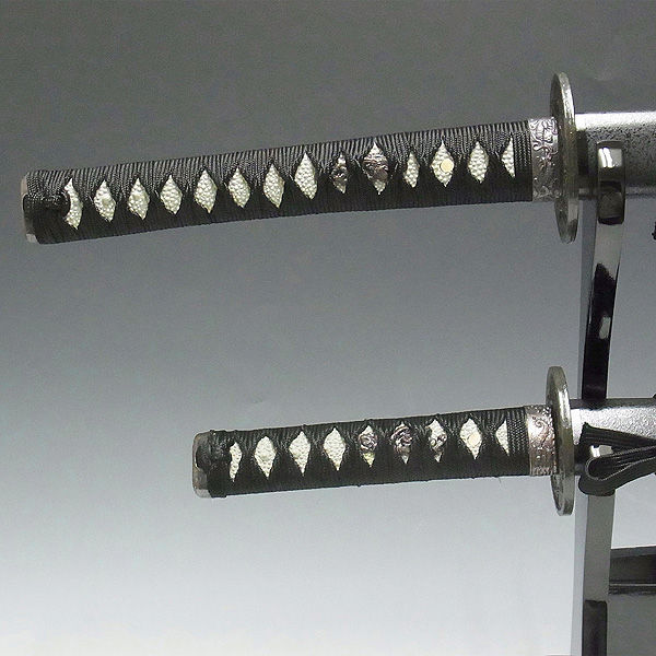 模造刀 黒石目(大・小)&木台 セット (販売・木彫り)