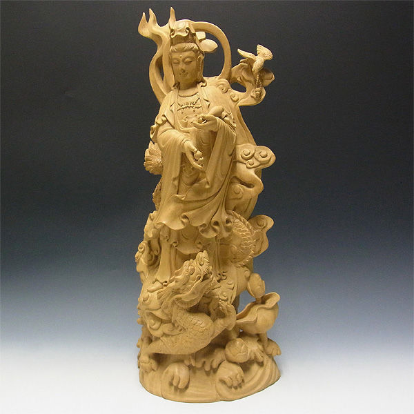 【特別プライス】楠/樟(クス)【砥の粉仕上げ】 龍上観音 高さ:60cm (販売・木彫り)