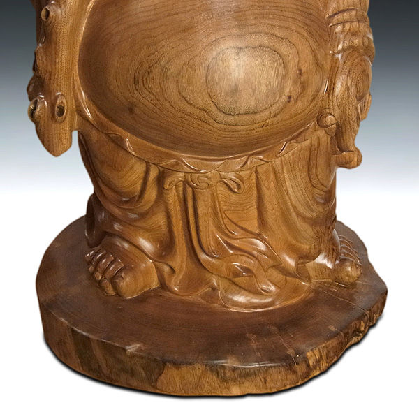 楠/樟(クス) 木彫りの布袋さん 高さ67cm (販売・木彫り)