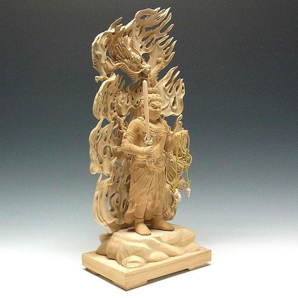 楠/樟(クス) 白木 不動明王 (立像・双龍光背) 高さ:51cm (販売・木彫り)