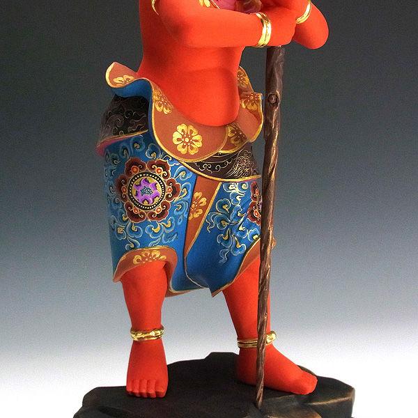楠/樟(クス) 彩色 二童子 矜羯羅(こんがら)・制吐迦(せいたか) 高さ:37cm (販売・木彫り)
