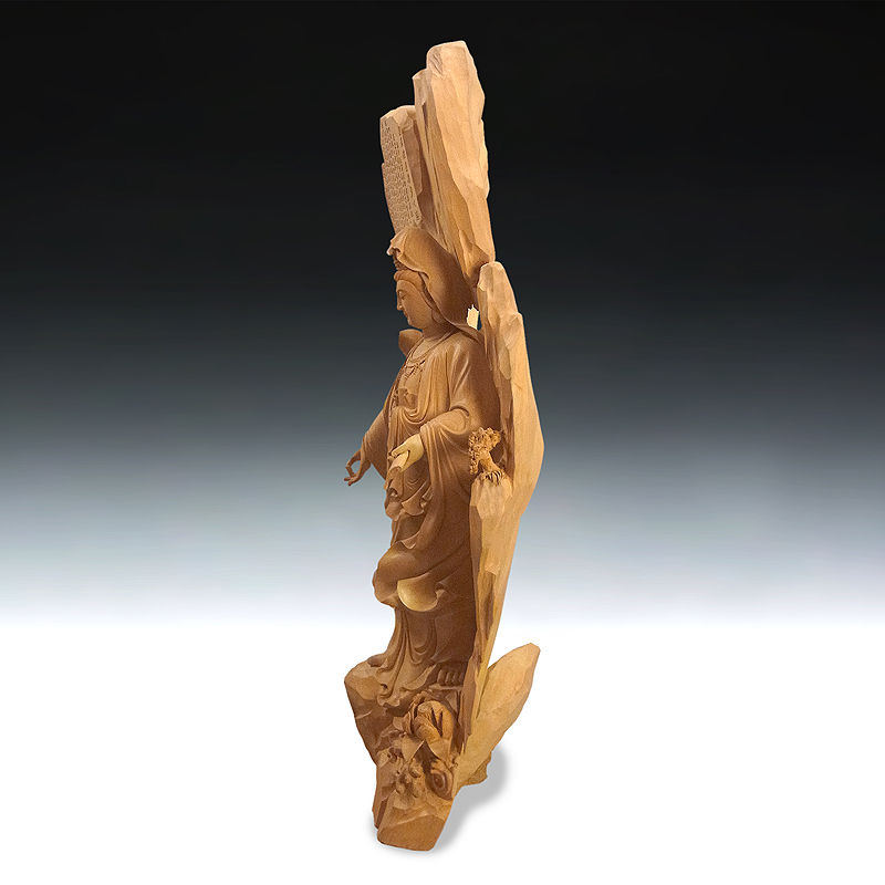 香榧(カヤ) 心経観音 高さ:125cm 一木造り (販売・木彫り)