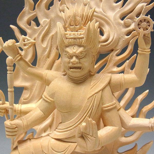 桧/檜(ヒノキ) 烏枢沙摩明王 高さ23cm (販売・木彫り)