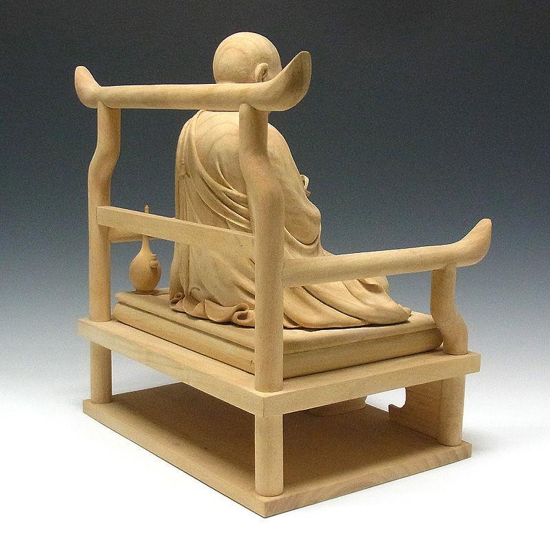 楠/樟(クス) 白木 弘法大師・空海 高さ:45cm (販売・木彫り)