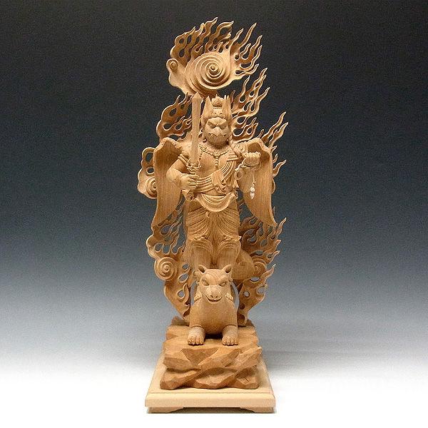 榧(カヤ) 白木 飯縄権現 高さ48cm (販売・木彫り)