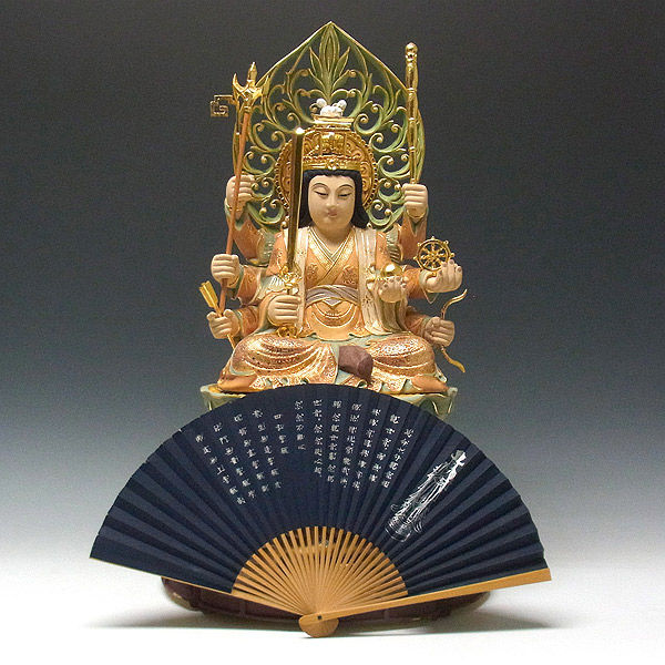 楠/樟(クス) 彩色 八臂弁財天 高さ60cm (販売・木彫り)