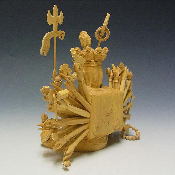柘植/黄楊(ツゲ) 千手観音 (坐像) 高さ:28cm (販売・木彫り)