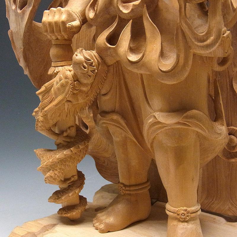 桧/檜(ヒノキ) 不動明王・倶利伽羅・火炎巻光背 高さ:72cm (販売・木彫り)