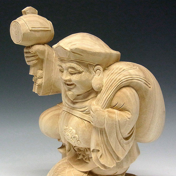 楠/樟(クス) 白木 大黒天(三俵) 高さ31cm (販売・木彫り)