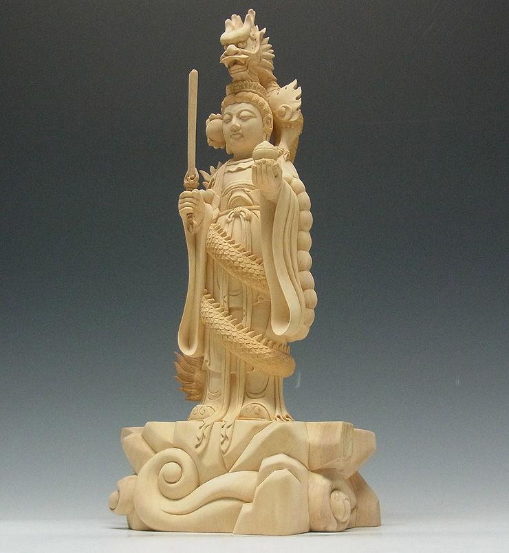 【特別プライス】水柘植(白木) 白山権現(白山妙理権現) 高さ:35cm (販売・木彫り)