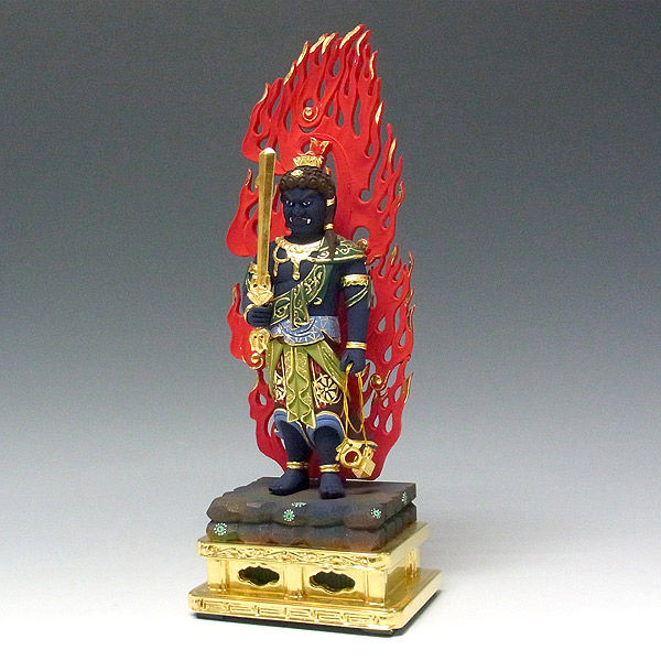 柘植/黄楊(ツゲ) 彩色 不動明王・火炎光背 高さ30cm (販売・木彫り)
