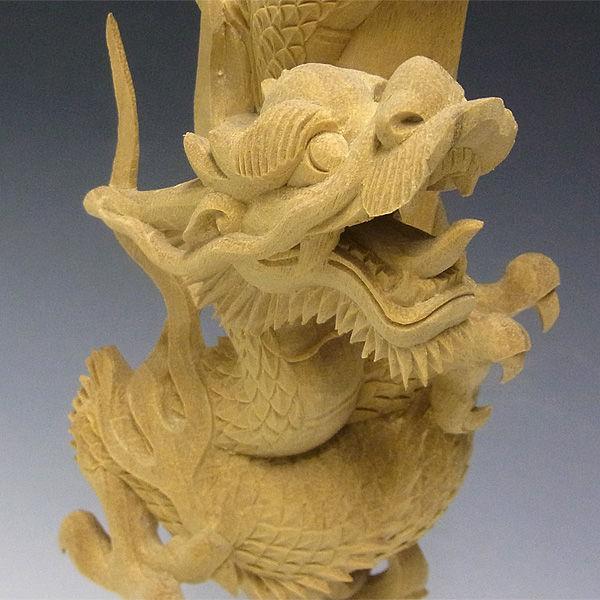 楠/樟(クス) 倶利伽羅不動一対(竜剣) 高さ:51cm (販売・木彫り)