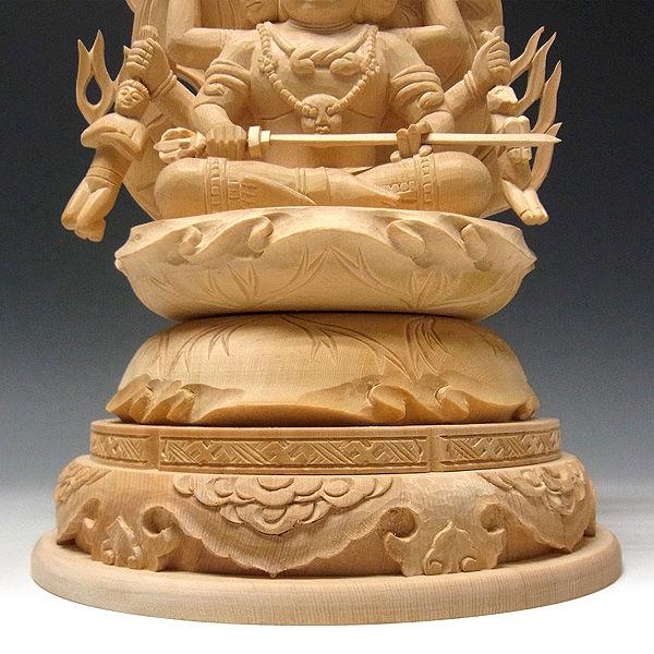 桧/檜(ヒノキ) 三面大黒天(マハーカーラ) 高さ:32cm (販売・木彫り)