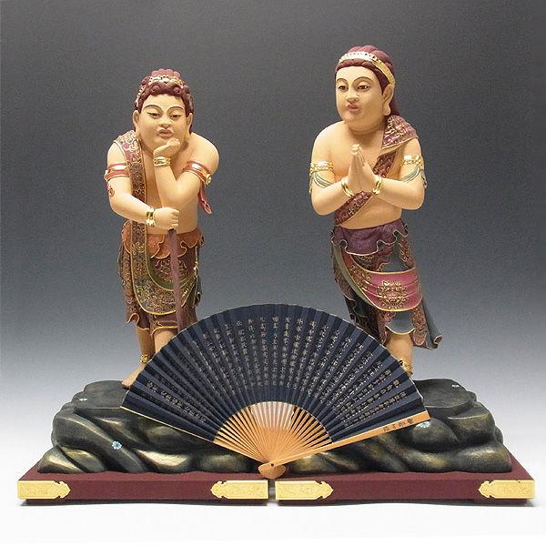 楠/樟(クス) 彩色 二童子 矜羯羅(こんがら)・制吐迦(せいたか) 高さ:59cm (販売・木彫り)