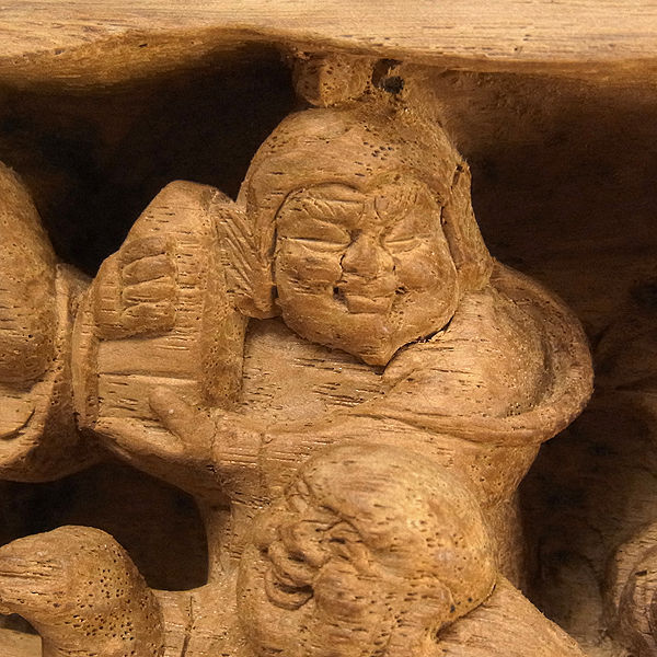 天然木 七福神(円柱形) 幅35cm (販売・木彫り)