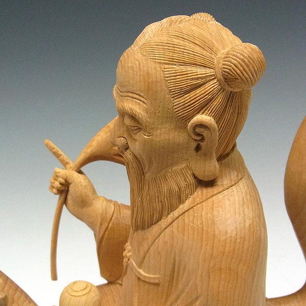 榧(カヤ) 白木 宇迦之御魂神(うかのみたまのかみ)・倉稲魂命(ウカノミタマノミコト) 高さ:29cm (販売・木彫り)